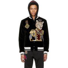 Dolce & Gabbana Black Velvet Royal Cat Bomber Jacket (55.142.840 IDR) ❤ liked on Polyvore featuring men's fashion, men's clothing, men's outerwear, men's jackets, black, mens striped jacket, mens velvet bomber jacket and mens velvet jacket