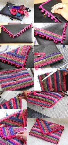 Discover thousands of images about 【ρinterest: ⚜ LizSanez✫☽】 //♡Diy cartera de mano etnica - clutch Diy Clutch, Diy Purse, Clutch Bag, Pochette Diy, Boho Bags, Diy Clothing, Handmade Bags, Diy Fashion, Crochet