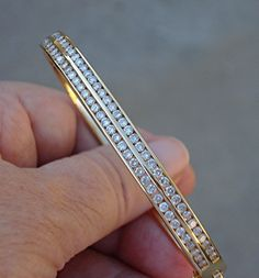 Heavy Double Row Diamond Bangle Bracelet - Solid 18k Yellow Gold $1800