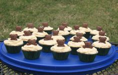 """Groundhog Day treats -- Fudge Brownie Tarts with peanut butter icing and Teddy Graham """"groundhogs"""""""