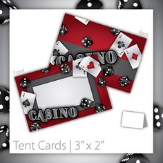 Casino Party Tent Cards : Blank . PRINTABLE . Gamble Love . INSTANT Download