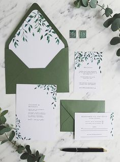 Greenery Wedding Invitation Template Botanical Green Leaves