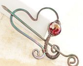 Scarf pin or shawl pin in swirly rainbow multicolored dangles design with copper and German silver.. $34.00, via Etsy.