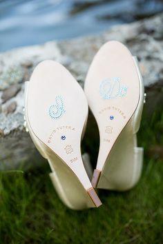 "David Tutera wedding shoes with, "" I Do,"" on heels. lovewc.me/mintbridesmaid"