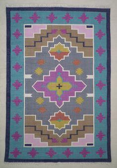 Cotton Dhurrie Kilim Rug 4x6 Bohemian Tribal Moroccan