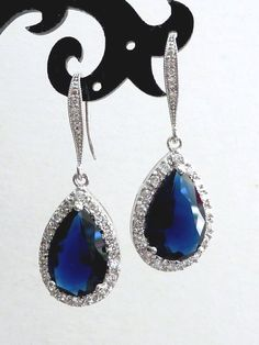 Wedding Bridal Earrings Large Halo Dark Sapphire Blue Pear Shaped Cubic Zirconia with White Gold Plated CZ Earrings