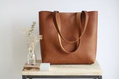 0ae973d53e Camel Leather tote bag with sewn handles. Cap Sa Sal Bag. Handmade. Brown.  Etsy
