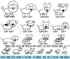 Stick Figure Pets Clipart Clip Art Vectors Stick por PinkPueblo