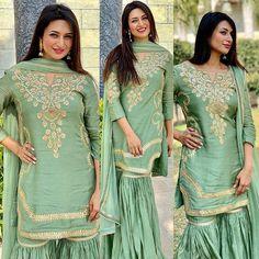 Order Divyanka Sharara suit on WhatsApp number or ArtistryC. Iranian Women Fashion, Ladies Fashion, Women's Fashion, Designer Party Wear Dresses, Suit Fabric, Bollywood Saree, Bollywood Actress, Salwar Suits, Sharara Suit