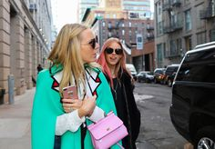 #StreetStyle   #NYC  Alice Naylor-Leyland in a Gucci cape and Mary Charteris