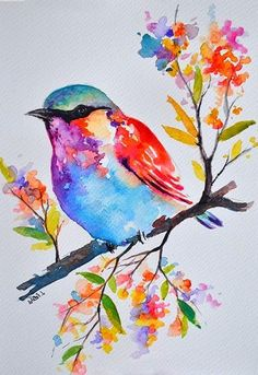 Watercolor Paintings For Beginners, Creation Art, Watercolor Bird, Watercolor Artists, Watercolor Portraits, Watercolor Landscape, Pastel Watercolor, Bird Drawings, Bird Art