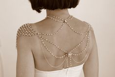 Necklace For The SHOULDERS, 1920s Era, Beaded Pearls And Rhinestone,Jazz Age,Antique Gold, OOAK Bridal Wedding Jewelry - Second Edition. $1,500.00, via Etsy.