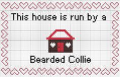 Bearded Collie: This House is Run By a Bearded Collie Cross stitch pattern and tutorial instant download by AmericanPooch on Etsy