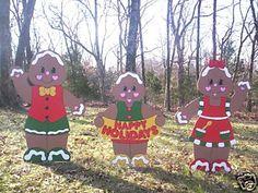 Gingerbread Family 3 Piece Christmas Yard Art Decor | eBay