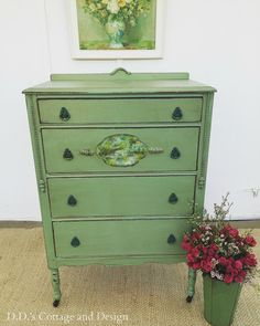 She finds this dresser at Goodwill and then makes her own custom paint color.  Then she cleverly decoupages a pretty napkin onto the front and ages everything with dark wax.  Stunning!