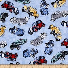 Classic Cottons Classic Cars Allover Blue from @fabricdotcom  From Exclusively Quilters, this cotton print fabric is perfect for quilting, crafts, apparel and home decor accents. Colors include grey, yellow, red, blue and green.