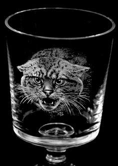 Highland Tiger (Scottish Wildcat) on Crystal Goblet
