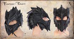 Dragon, drow, druchii, dark elf leather helmet by I-TAVARON-I.deviantart.com on @deviantART
