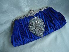 Something Blue Bridal Clutch Crystal Wedding Clutch by ZeeGlam, $72.00