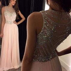 Rosa Largo Partido Vestido de Noche 2017 con Cristales de diamantes de Imitación de Un line vestido de festa gasa de la alta calidad formal robe de Soiree