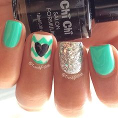 Turquoise & White Chevron with Black Heart and Silver Accent Nail