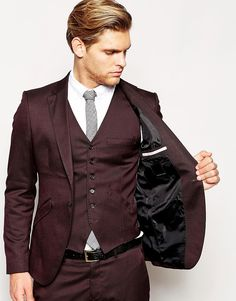 burgundy suit | Selected Homme | Selected Burgundy Skinny Suit Jacket at ASOS