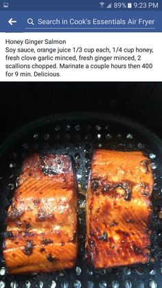 Honey ginger salmon, cook in air fryer @ 400 degrees for 10 mins, turns out fantastic! Air Fryer Recipes Salmon, Air Fryer Oven Recipes, Air Frier Recipes, Salmon Recipes, Fish Recipes, Seafood Recipes, Cooking Recipes, Honey Ginger Salmon, Nuwave Air Fryer