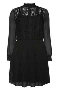 Primark - Black Lace Front Victoriana Dress