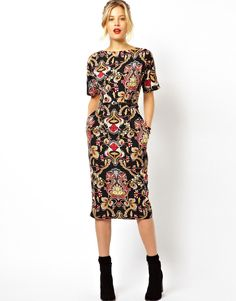 ASOS Wiggle Dress In Baroque Print