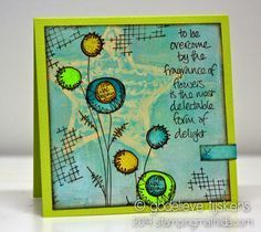 A simple gelli print from my stash was used on this card.  I stamped with Archival ink #Potting Soil.  Stamped the flowers on colored scraps and cut them out.  StampingMathilda: Another Flower Card