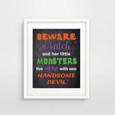 Beware Halloween Chalkboard Printable by ShadesOfBlueDesign