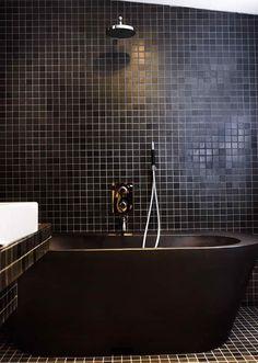 black bathroom -- love the minimalist style