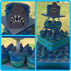 Shark themed 1st birthday cupcakes and smash cake. ~ Shark Cupcakes ~ Shark Cake Cake, Cupcakes & Display by: Bella Baby Cakes