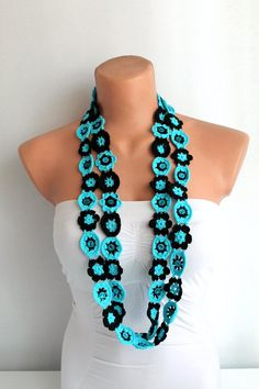 Lariat Necklace Flower Necklace Blue and Black by fairstore, $28.00
