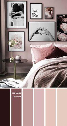 Bedroom Colour Palette, Bedroom Wall Colors, Bedroom Color Schemes, Room Ideas Bedroom, Home Bedroom, Bedroom Decor, Bedroom Color Combination, Mauve Bedroom, Burgundy Bedroom