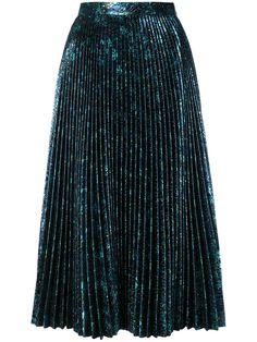 Prada Pleated Metallic Jacquard Midi Skirt In Bluette Metallic Skirt Outfit, Flare Skirt, Midi Skirt, Metallic Pleated Skirt, Sequin Skirt, Holiday Skirts, Skirt Outfits, Bar Outfits, Vegas Outfits