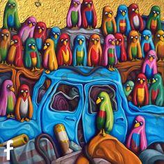 Carlo Petrini olio su tela - figurazione urbana - artista e pittore professionista