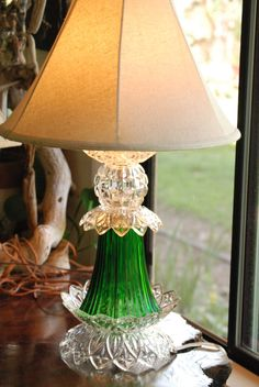 Hand Made Glass Lamp Upcycle Lighting by CatkinsCreations on Etsy, $59.00
