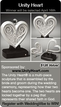 Wedding Giveaways - Win a Unity Heart in this wedding contest.