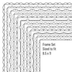 Digital Frames Clipart, Digital borders, 8.5 x 11 frames, Border Clip art set, Instant Download, Digital Download, Vector Graphics