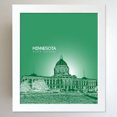 Minnesota Skyline State Capitol Landmark - Modern Gift Decor Art Poster 8x10. $20.00, via Etsy.