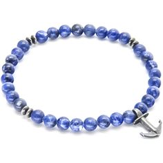 Blue Sodalite Starboard Stone and Silver Bracelet by Anchor and Crew ($50) ❤ liked on Polyvore featuring jewelry, bracelets, blue, blue jewelry, blue stone jewellery, handcrafted jewelry, stone jewelry and blue stone jewelry