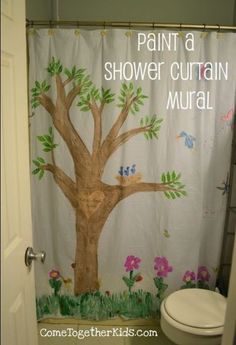 You could paint a scene, design or marble effect on a shower curtain to hang behind her  Bathroom Dollar Store Craft