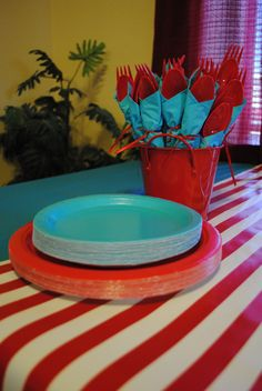 "Red & white stripes w/ teal seem to say ""Dr Suess"""