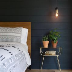 """Shiplap painted with """"Blackboard"""" from the Magnolia paint line by Joanna Gaines Magnolia Homes, Magnolia Paint, Dark Blue Bedrooms, Painting Shiplap, Master Bedroom, Bedroom Decor, Bedroom Ideas, Bedroom Retreat, Master Suite"""