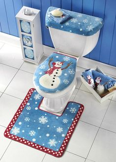 Frosty Commode Set Abandon Winter Blahs When You Add Fun And Color To Your Bath Snowman Stands Out Against A Snowy Blue Sky On The Lid Cover