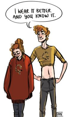 Ginny and George get their Christmas sweaters mixed up-though George believes it was fate.