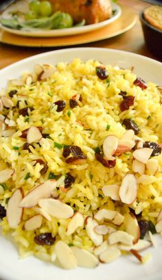 Saffron rice with cranberries and slivered almonds
