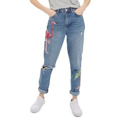 Women's Topshop Distressed Sequin Mom Jeans ($100) ❤ liked on Polyvore featuring jeans, indigo multi, high waisted ripped jeans, tall jeans, destructed jeans, tapered jeans and indigo blue jeans