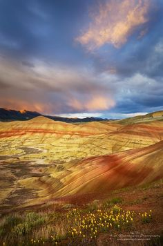 ~~Painted Hills Oregon ~ Passing storm at sunset Painted Hill Unit of John Day Fossil Beds National Monument by Alan Majchrowicz~~